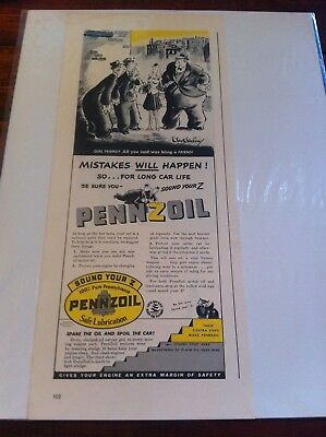 Vintage 1942 Pennzoil Men Trying To Pick Up Girl Print Art ad