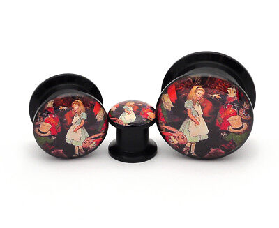 Pair of Black Acrylic Alice Style 1 Picture Plugs gauges 8g through 1 inch