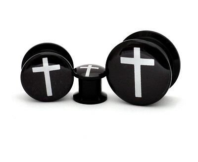 Pair of Black Acrylic Cross Style 1 Picture Plugs gauges 8g through 1 inch