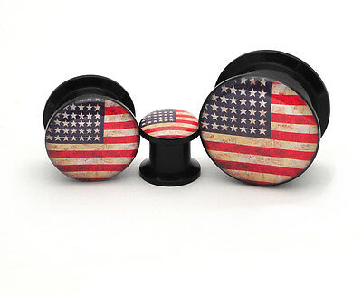 Pair of Black Acrylic American Flag Picture Plugs gauges 8g through 1 inch