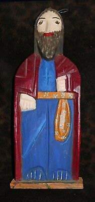 """Carved & Painted Wood Bulto Attributed to New Mexico 15 1/4""""h x 5 1/2""""w x 2""""d"""