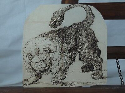 Old master pen and ink drawing of a lion c1700