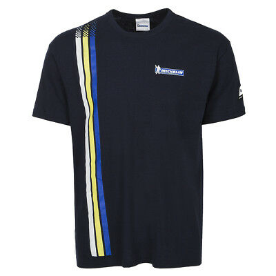 Michelin Motorsport Tyres Motorycle Casual T Shirt 3 Stripes - Navy / Yellow