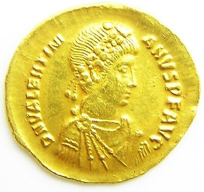 Exceptional Ancient Roman Gold Solidus of Valentinian II 375 - 392 A.D. nr. EF