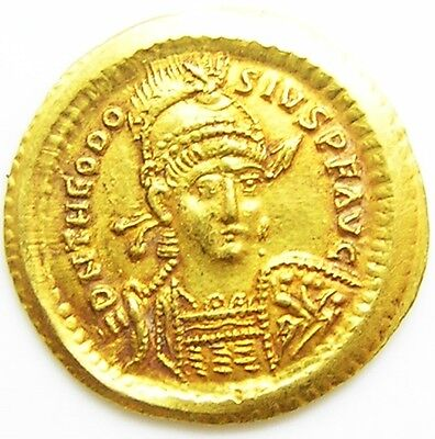 Wonderful EF Ancient Roman Gold Solidus of Theodosius II Constantinople 425 A.D.