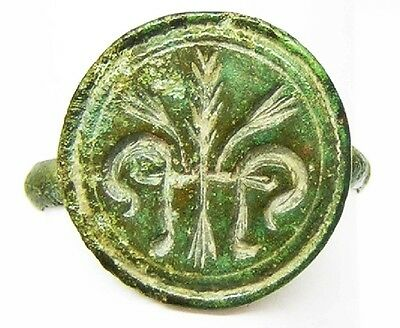 Superb Carolingian Frankish Bronze Signet Ring c. 9th - 10th century A.D. Size 8