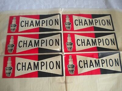 Champion spark plugs vintage advertising shop window decal sheet transfer 50s