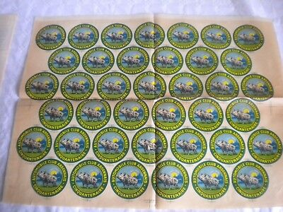 Automobile club Ardennais window decal sheet transfer flag windscreen 50s french