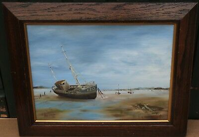 Lovely Wooden Framed Painting On Board Of Boats On The Coast Signed