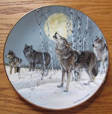 """Song To The Wilderness 8.5"""" Collector's Plate Wolves  by Jon Van Zyle 1991"""