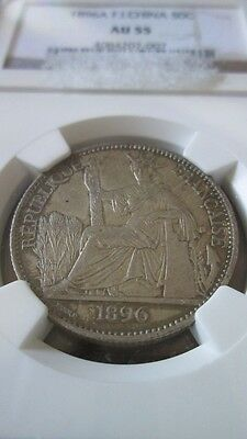 French Indochina 50 Cents 1896A NGC AU 55