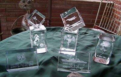 Steinbach LOT OF 7 Crystal Glass Optical 3-D Paperweights Sculpture  AMAZING!!