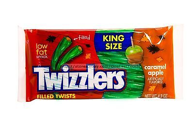 TWIZZLERS^ King Size Candy CARAMEL APPLE Filled Twists FALL 4.3 oz Bag Exp. 4/18