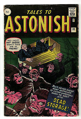 Marvel TALES TO ASTONISH 33 4.0  pence  VG+  HORROR DEAD STORAGE
