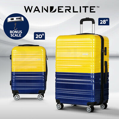"Wanderlite 24"" Luggage Sets Suitcase Trolley TSA Travel Hard Case Lightweight"