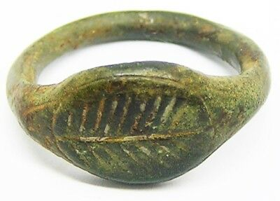 Ancient Roman Bronze Finger Ring 2nd century A.D. Victory Palm Branch Size 7 1/4