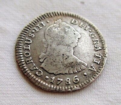 Peru Lima  1  Real 1786 M I  Weighs  3.17 Grams Of 896 Silver