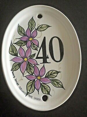 1980s handpainted ceramic house sign from rye in sussex .number 40