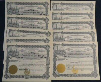 (10) Carroll Oil and Pipe Line Co. Stock Certificates Carroll, Iowa