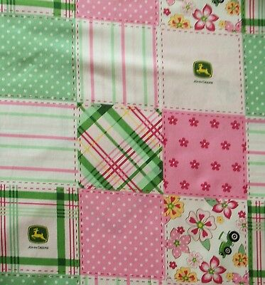 New Hand Made John Deere Girl Square's Fitted Crib/Toddler Sheet