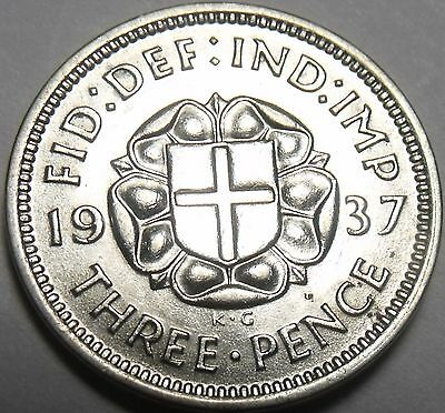 Great Britain 1937 3 Pence Silver Unc~Free Shipping