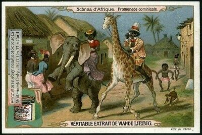 African Couple Riding Animals Racist Art c1907 Trade Ad Card