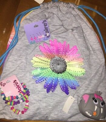 Claire's Reversible Sparkle Floral Backpack Bag Purse Jewelry Easter Lot