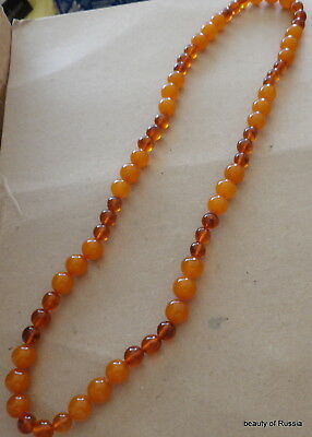 Antique Natural  butterscotch egg yolk Baltic Amber Round  Beads Necklace   77gr
