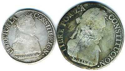 XS-  BOLIVIA  Lot x2 Silver Coins: 1830  2 S + 4 S
