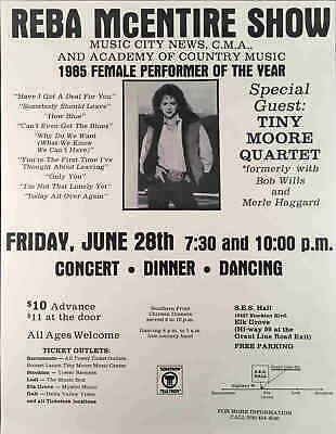 Early Reba McEntire Poster Dinner Dance with Tiny Moore in Elk Grove, CA 1985
