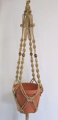 Macrame Plant Hanger 39in with BEADS Button Knot 6mm Sand Cord
