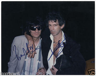 KEITH RICHARDS & RONNIE WOOD Signed Photograph Rock Band ROLLING STONES preprint