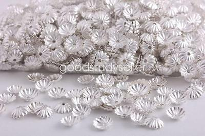 1000 pcs 6mm silver plated flower beads caps findings