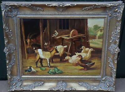 Fab Looking Gilt Framed Painting On Panel Of Farm Animals By L Hoffer
