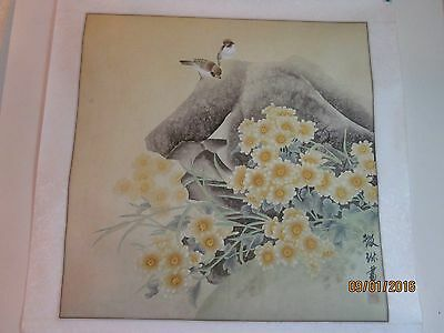 Vintage Chinese Water-color on Rice Paper, matted on silk, artist signed [6]