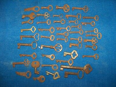 44 Antique & Vintage Skeleton Cabinet Etc Key Collection Lot Jewelry Steampunk
