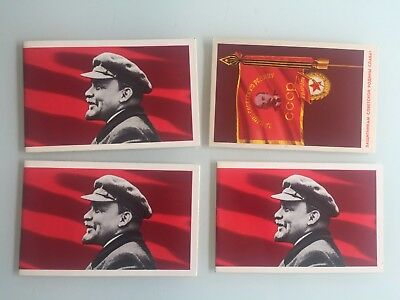 Vintage Soviet Union Postcards 1972, 1974 Russian Revolution, Lenin