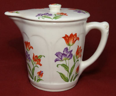 1930's Harker Hotoven Chinaware Pottery Parrot TULIP Batter Pitcher w/Lid