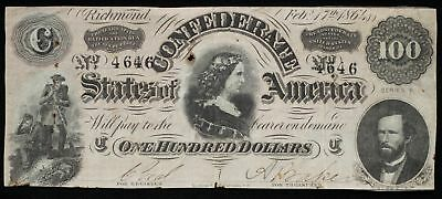 1864 One Hundred Dollars Confederate Currency F T-65 Rust Holes