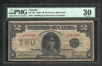 Canada DC-26f $2 1923 Dominion of Canada - Group 3, Black Seal PMG Very Fine 30
