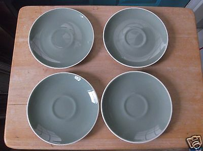 Four Sage Green and White Harkerware China Saucers