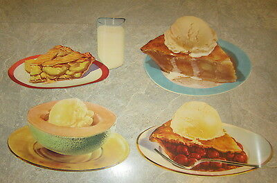 Lot of 4 Old 1950's Vintage PIE & ICE CREAM - Soda Fountain DINER Paper Diecuts