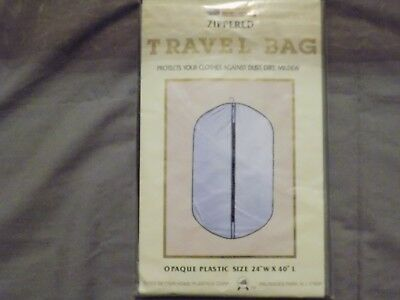 """Travel Bag Zippered Protect Clothes Opaque Plastic 24""""x40"""" Dirt Dust Mildew NEW!"""