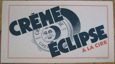 Moon & Lunar Eclipse 1930 French Advertising Blotter, 'Creme Eclipse'