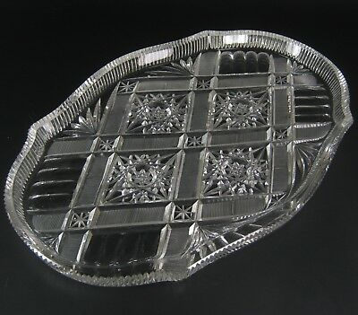 Art Deco Glas Platte / Tablett Handgeschliffen Glass Serving Tray Handcut RARE