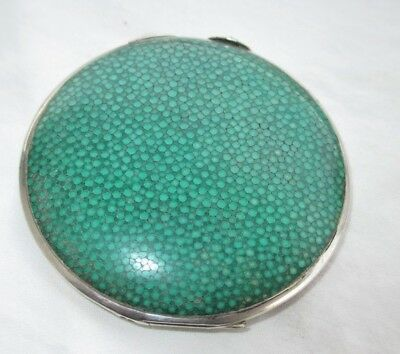 Vintage Sterling Silver Shagreen Powder Compact Sold By Asprey London 1916-1918