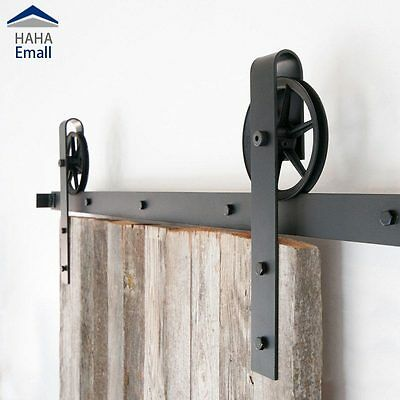 Vintage Industrial Wheel Sliding Barn Wood Door Hardware Track Hanger Roller Kit