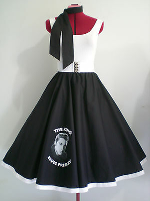 "ROCK N ROLL/ROCKABILLY ""Elvis"" SKIRT-SCARF M-L Black/White."