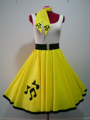 "ROCK N ROLL/ROCKABILLY ""Music Notes"" SKIRT-SCARF S-M Lemon Yellow."