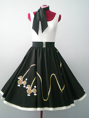 "ROCK N ROLL/ROCKABILLY  ""POODLE"" SKIRT-SCARF S-M Black/White/Beige/Gold."